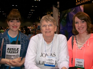 Next we hurried to see this amazing writer, Lois Lowry. She signed my copy of THE GIVER!